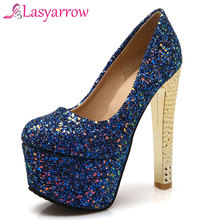 Brand Shoes Pumps Women Platform Thick-Heels Round-Toe Big-Size Silver Lasyarrow Party