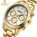 Mulher relógios 2015 marca de luxo mulheres ouro casual relógios kingsky marca famosos relógios de pulso de quartzo-relógio moda reloj mujer