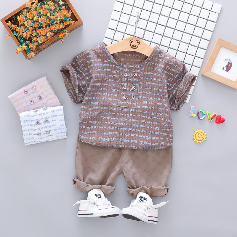 Newly 2pcs/set Baby Boys Casual Short Sleeve Japanese Cotton Shirt Tops O-neck Blouse T-shirt+Shorts Set Summer Outfits Sets