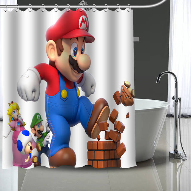 Custom SUPER MARIO BROS Shower Curtain With Plastic Hooks Modern Fabric Bath Curtains Home Decor Your Image