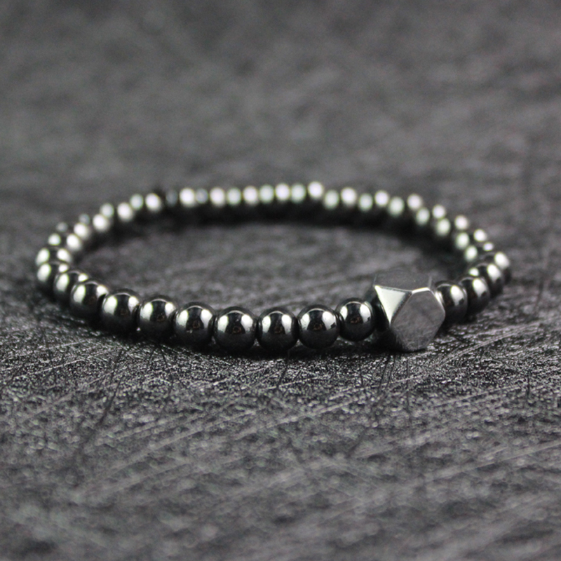 Fashion simple design silver square beads and 6mm round beads hematite bracelet for lucky couples party gift Yoga jewelry HB1019