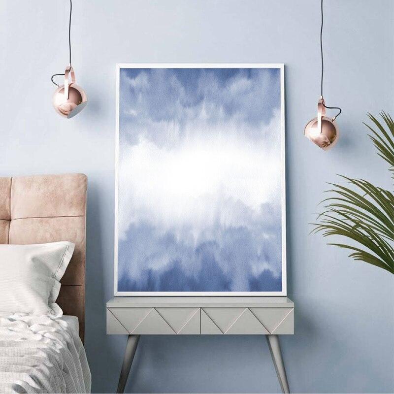 Blue Watercolour Abstract Canvas Prints Home Wall Decor