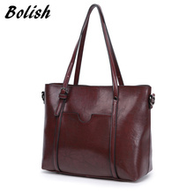 Bolish European and American Style Wax PU Leather Women Handbag Larger Size Women Shoulder Bag Female Shopping Bag