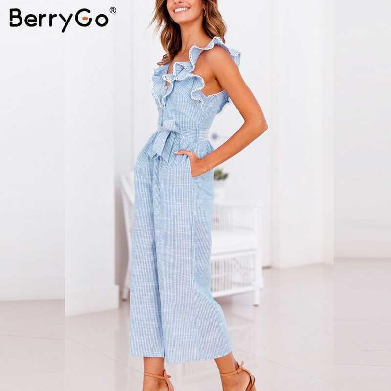 BerryGo женский комбинезон полосатый пляжный костюм гофрированный комбинезон с пуговицами повседневные Летние широкие комбинезоны хлопчатобумажное белье без рукавов