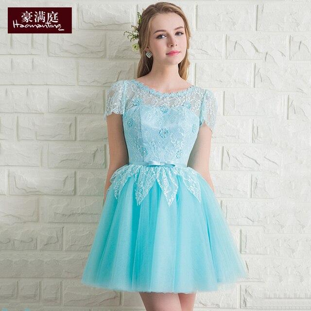 Aliexpress.com : Buy 2015 icy aqua blue short lace organza ...
