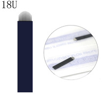 Black 0.20mm 18U Microblading Blades Eyebrow Shading Needles Tattoo Curved Manual Micro