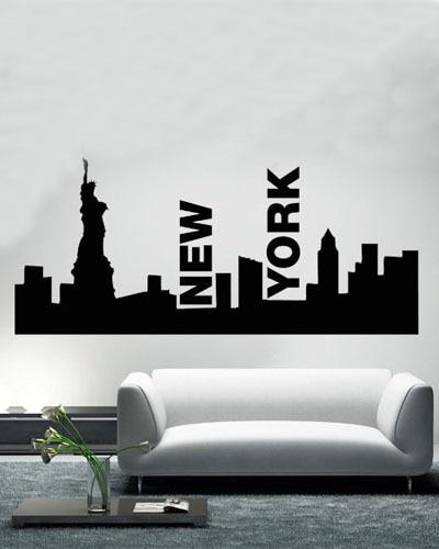 Statue Of Liberty New York Skyline Wall Art Living Room Wall Sticker ...