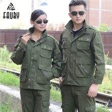 軍服狩猟服迷彩スーツ長袖綿 防護服ワークウエアの肥厚スーツ 100%