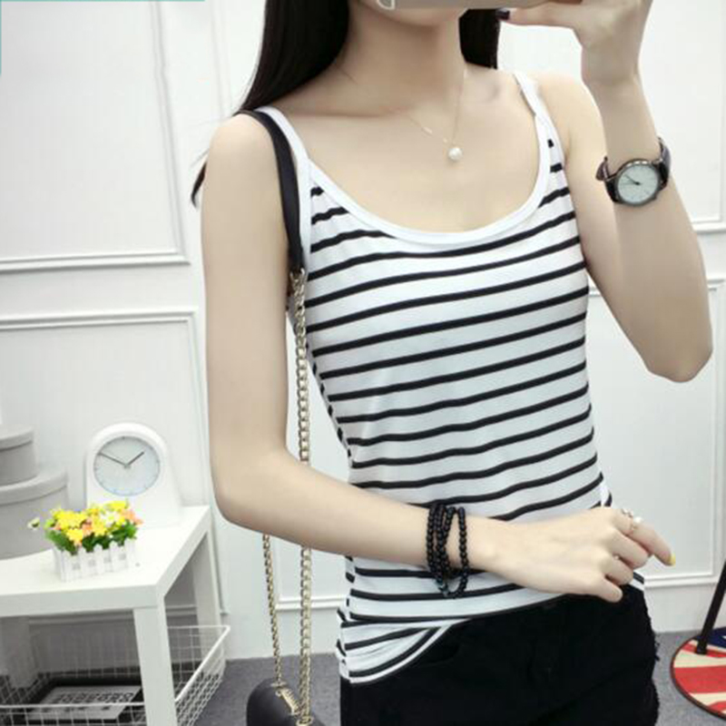 Summer Stripe Tank Tops Women Sexy Camisole Vest Slim Sleeveless Casual Crop Top Tank Leisure Korean Style Women Clothing Gifts