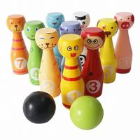 Wooden Bowling Ball Games Toys Kids Creative Birthday Present Indoor Bowling Sports Toy Large Child Parent