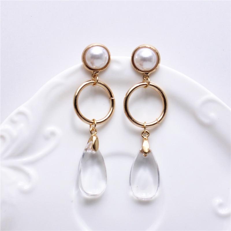 Transparent water drop long earrings 2