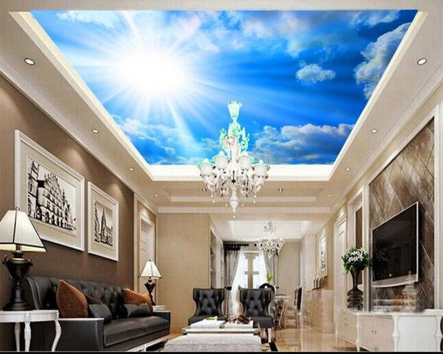 Beibehang grand fond décran personnalisé rêve ciel bleu ciel nuage blanc plafond photo papier