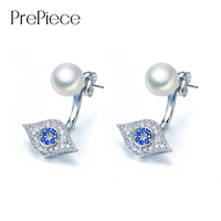 PrePiece Brand Hamsa Evil Eye Piercing Crystal Stud Earrings For Women White Gold Color Simulated Pearl