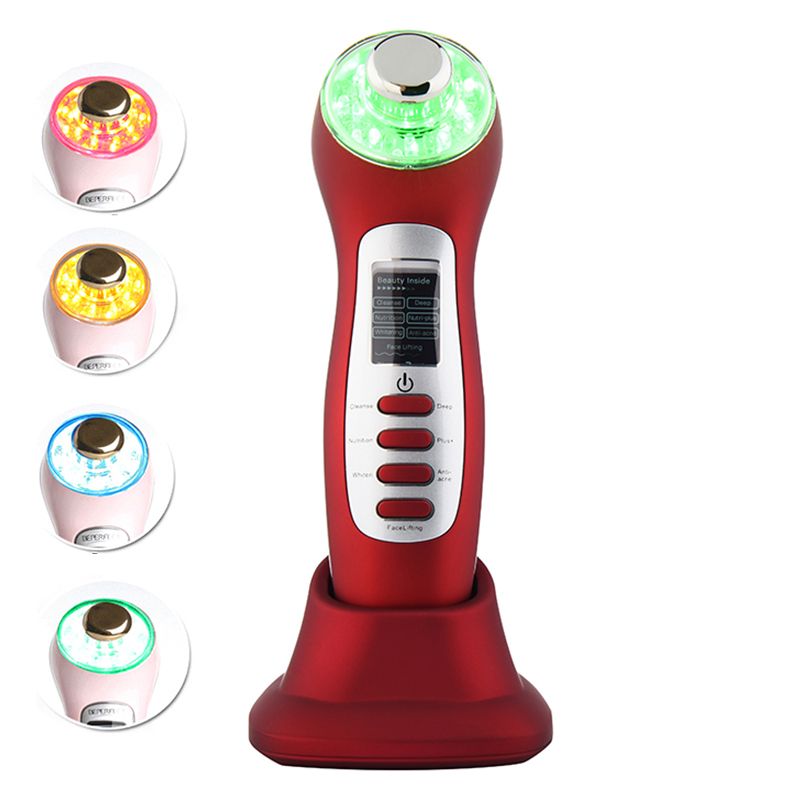 High Frequency Galvanic Current Ultrasound Skin Care Microcurrent Vibration Facial Toning LED Photon Light Therapy Beauty