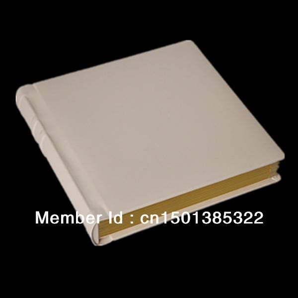 Ivory leather cover 8x10 wedding photo album with slip in