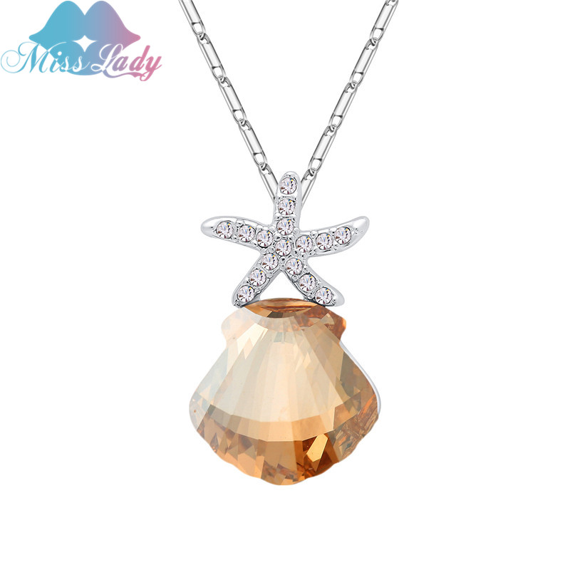 Ladies Christmas Presents Part - 34: Miss Lady Fashion Christmas Present Romantic Coral Start Necklaces Crystal  Alloy Clavicle Chain Necklaces For Women
