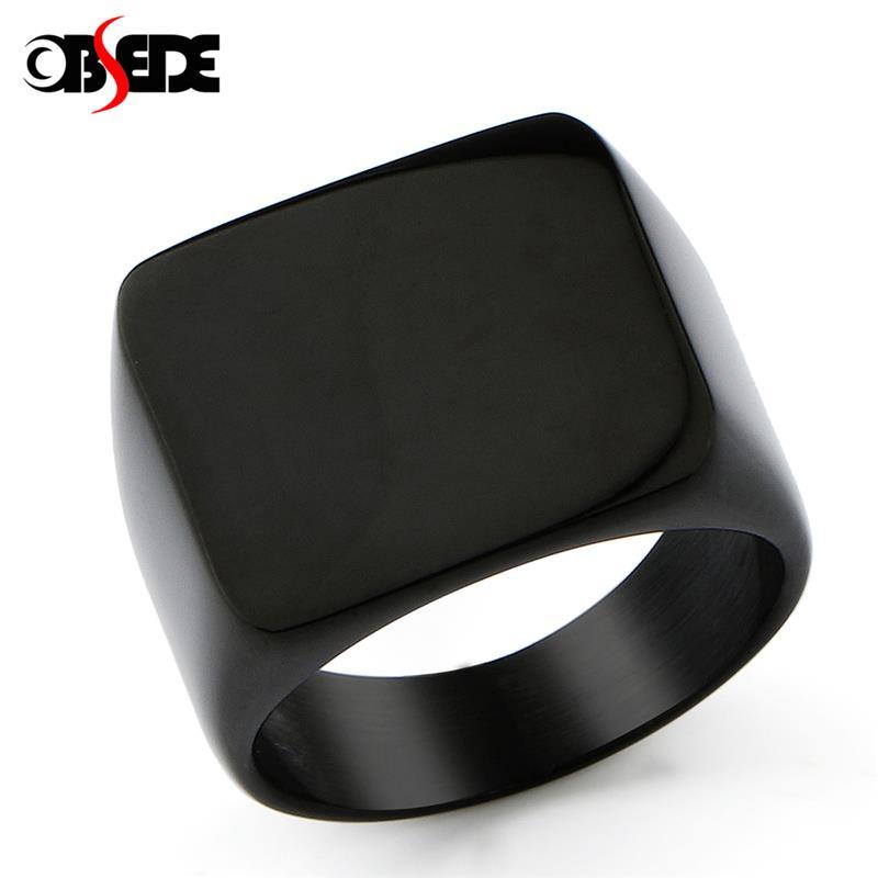 Mode Titan Stahl Geometrische Ringe für Männer Persönlichkeit Flache Ring Punk Männlichen Schmuck Zubehör Schwarz Gold Silber Farbe
