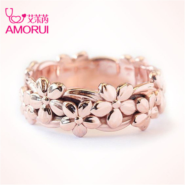 AMORUI Romantic Rose Gold Plum Blossom Flower Marriage/Engagement Rings For Wome