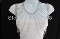 FREE SHIPPING 2014 Style S13 New Women Silver Body Chain Full Shoulders Wide Necklace Fashion Trendy