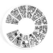 400 Шт. 1.2 мм/2 мм/3 мм/4 мм Серебристый Круглый Стразы Для Акриловые УФ Гель Ногтей Украшение(China (Mainland))