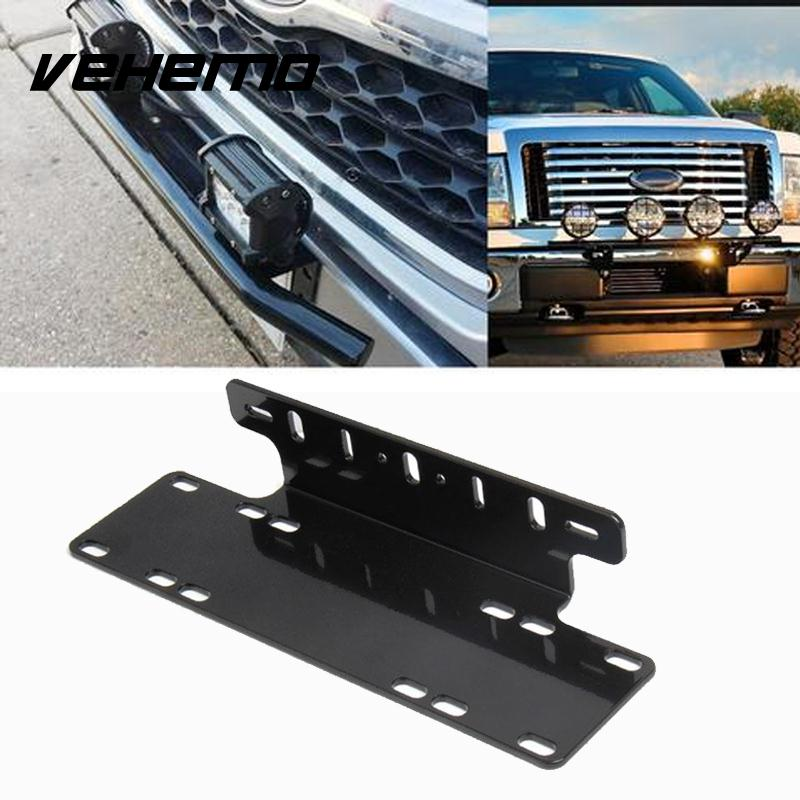 Front License Plate Mount Stand Holder Light Offroad Universal Durable Black