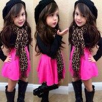 女の子春の秋服スーツ長袖ブラックカラーブラウス+スイングスカート+ヒョウスカーフ子供服セット用2-8years