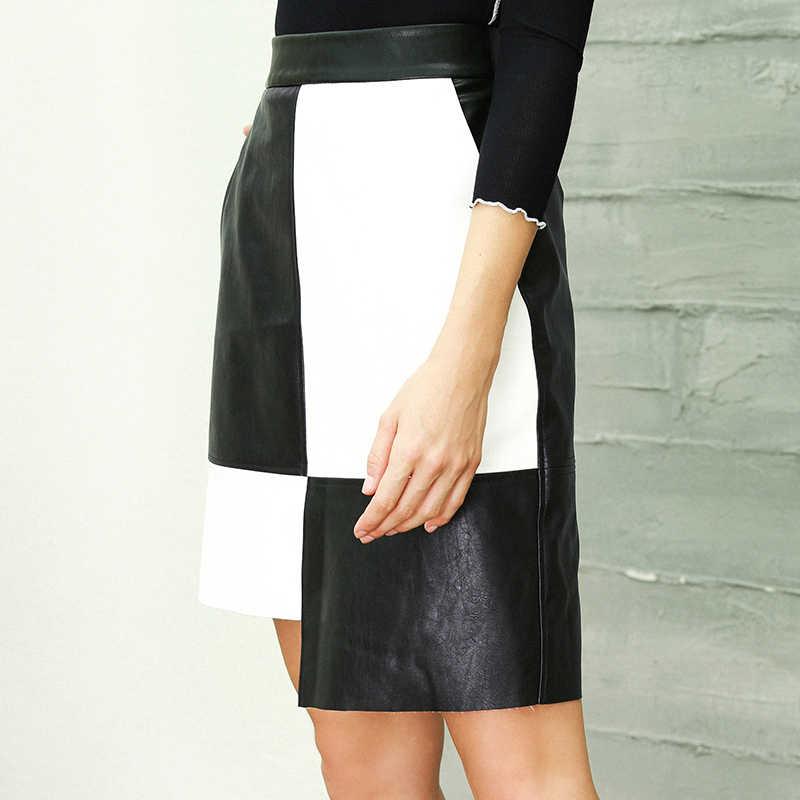 387a7bea90 ... Casual Leather Skirt Women High Waist Irregular Black White Patchwork  Skirt Autumn Winter Female Plus Size ...