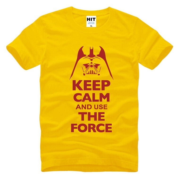 keep calm and use the force starwars tshirt with yellow and red color