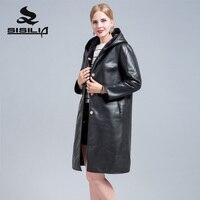 SISILIA2018 настоящие леди кожаная куртка двусторонний овечья шерсть кожаная куртка модная Высококачественная обувь кожаная куртка