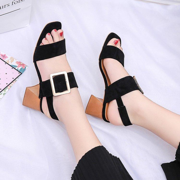 Manera Calidad La De Zapatos Las black 2019 Sandalias Mujeres Alta Brown Alto Cuero Tacón Mujer Nuevo Gamuza Los Verano wq1a0