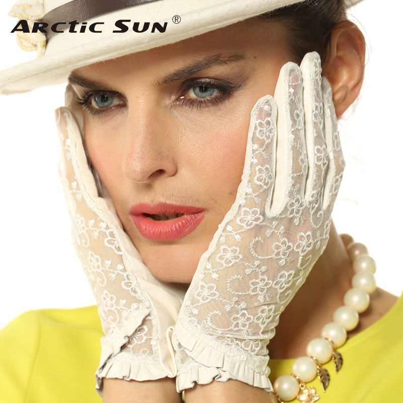 Top Fashion Damen Handschuhe Handgelenk Spitze Schaffell Handschuh Solide Echtes Leder Dressing Sonnencreme Fahren Unliniertes Freies Verschiffen L095N