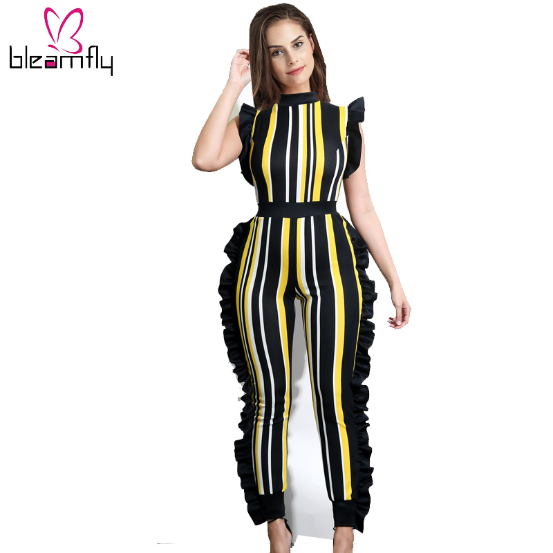 2018 Summer Print Stripe   Jumpsuit   Women Sexy Ruffles Sleeveless Skinny Party   Jumpsuits   Sexy Long Rompers Plus Size 3XL Bodysuit