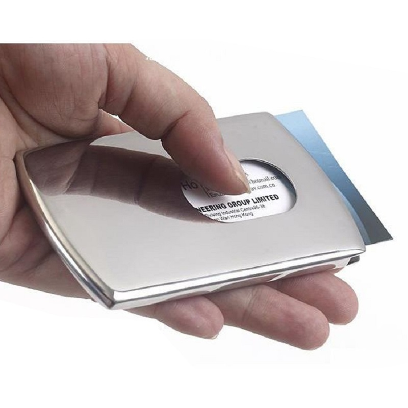 1PC Sliding Business Card Holder Women's Stainless Steel