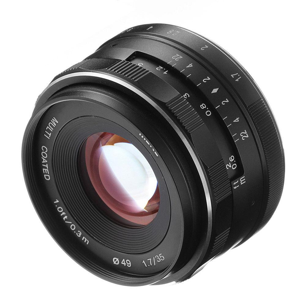 MEIKE 35mm F1.7 Grande Ouverture Mise Au Point Manuelle à Focale fixe pour EOS NEX Fujifilm FX Nikon M4/3 montage caméras