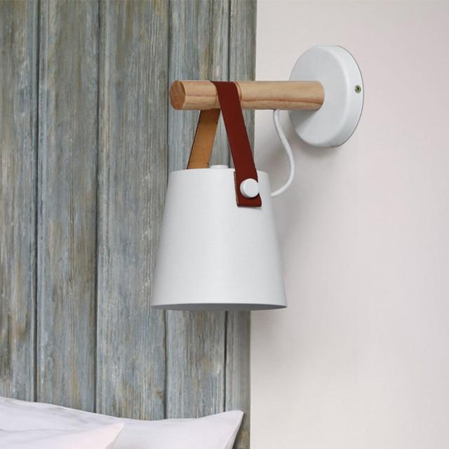 Moderne wandlamp Creative Wandlamp Houten Wandkandelaar E27 ...