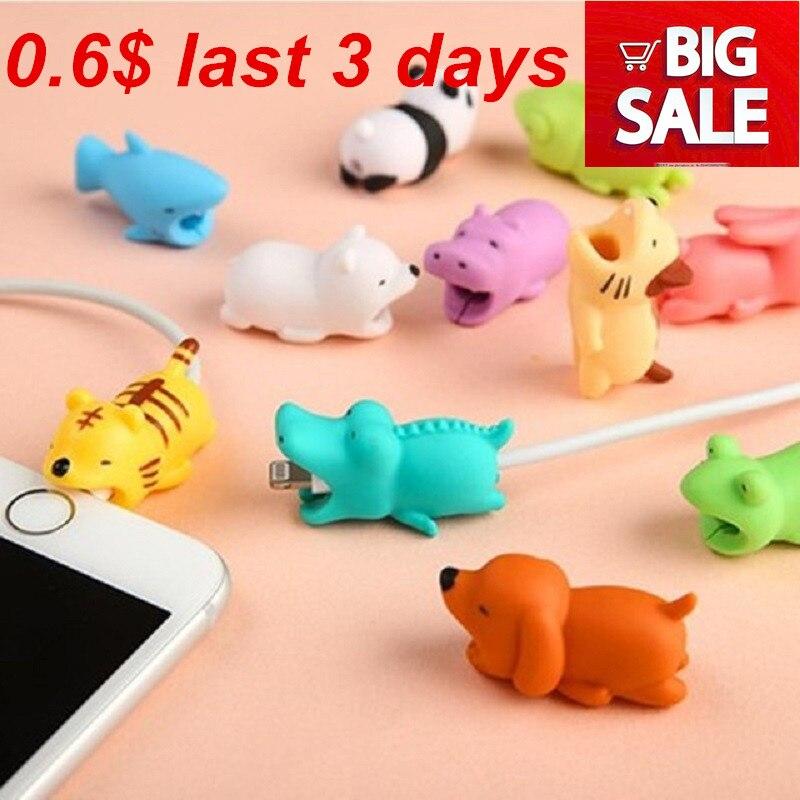 1 piezas de Cable muerde Protector para Iphone cable Winder titular del teléfono de dientes de conejo perro gato Animal muñeca divertido