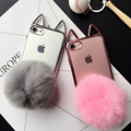 Moda Inverno quente de Pelúcia de coelho bolas de pele casos de telefone celular para iphone 6 6 s plus 7 7 mais transparente back cover frete grátis