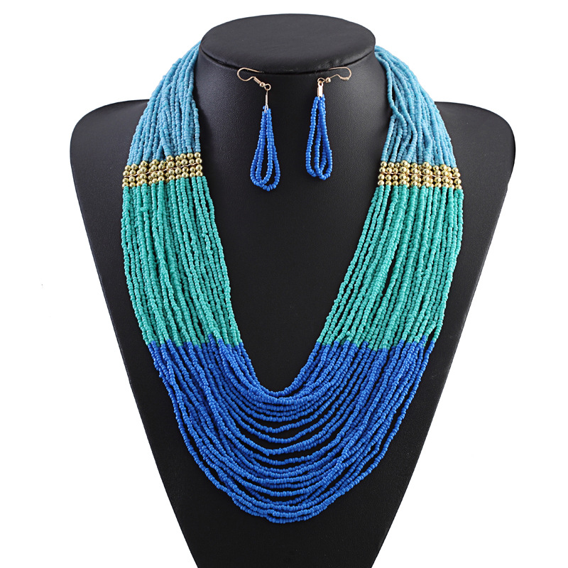 Bohe Bohemian Strand Beads Necklaces Earrings Set Multi Layer Ancient Necklace Jewelry Sets