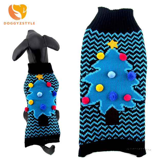 Christmas Tree Dog Sweater Winter Pet Knitting Coat Stripe Puppy Clothes For Small Dogs Cats Blue Pets Clothing DOGGYZSTYLE