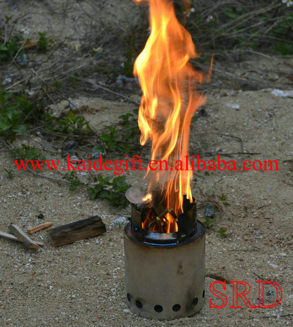 SRDWOS   Portable stainless steel lightweight wood gas camping stove