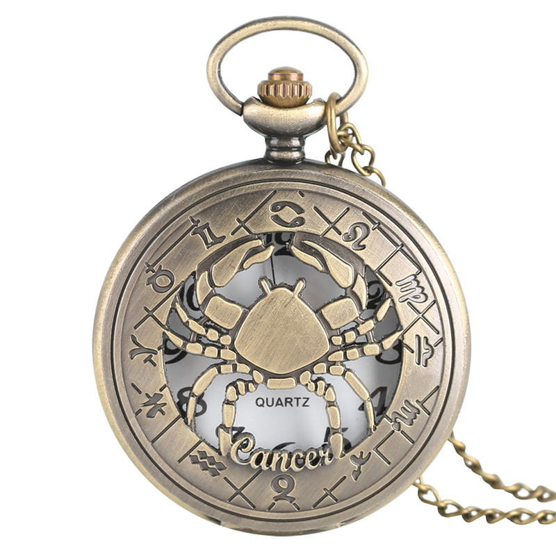 Classic Retro Hollow Cancer Of Twelve Constellations Theme Pocket Fob Watch With Necklace Chain Gift For Men Women