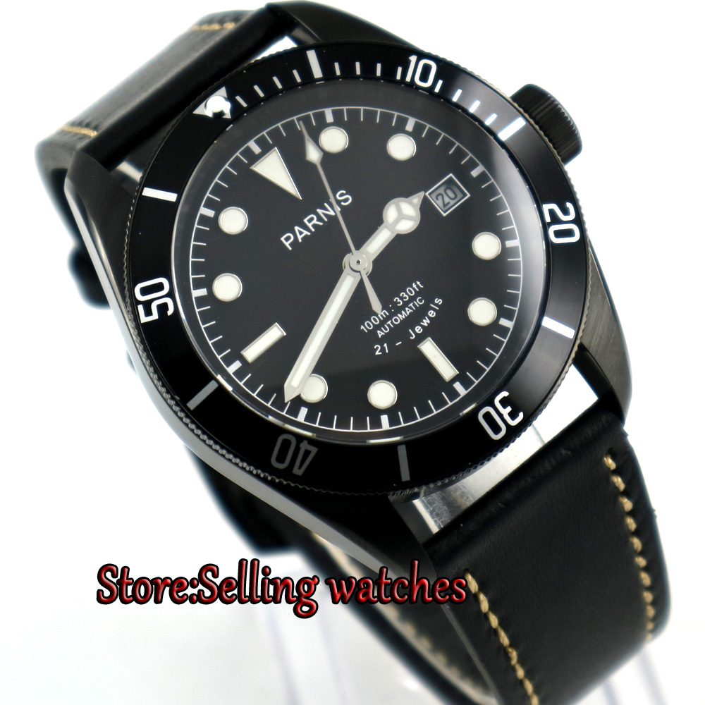 new Parnis 41mm black dial super luminous date PVD Case miyota 8215 Automatic mens Watch