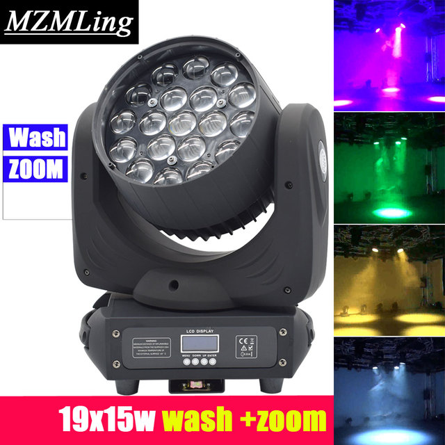 19x15w Led RGBW 4in1 Wash/Zoom Light DMX512 Moving Head Light Professional DJ /Bar /Party /Show /Stage Light LED Stage Machine
