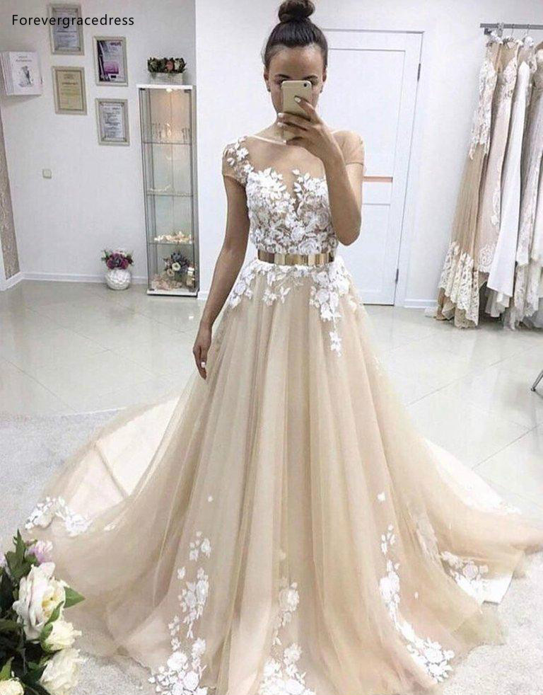 US $142.8 49% OFF|Spring Summer Bohemian Wedding Dresses 2019 A Line  Appliques Beach Country Garden Bride Bridal Gowns Plus Size Custom Made-in  ...