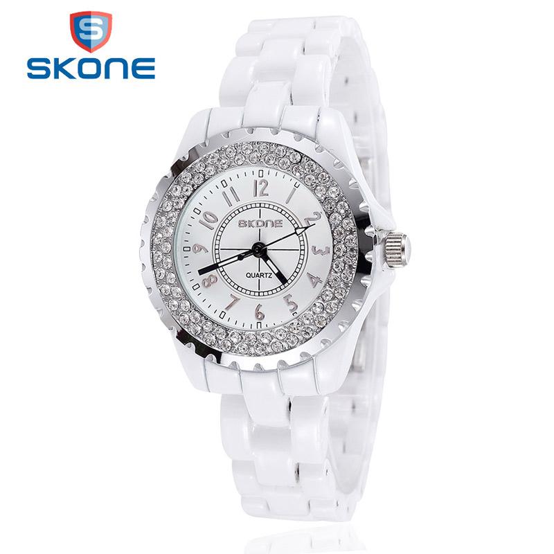 Prix pour Relojes Mujer 2017 SKONE Top Marque De Mode Montre Femme En Céramique Bracelet Quartz Montres Femmes Horloge Dames Célèbre Montre-Bracelet