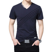 BROWON Summer Fashion T-shirt Men Short Sleeve V-neck Cotton Regular Fit Plus Size Men Casual T-shirt 5XL(China)