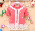 2016 New Autumn Fashion Baby Girls Nice Lace Cotton Long-Sleeved O-Neck Coat Dot Cardigan A162
