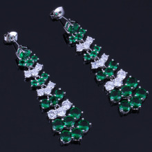 Enjoyable Long Green Cubic Zirconia White CZ 925 Sterling Silver Drop Dangle Earrings For Women V0777