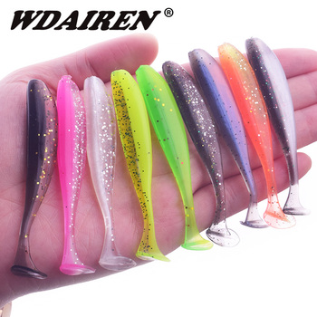 10Pcs/lot Wobbler Fishing Lure 75mm 50mm Easy Shiner Jig Swimbait Artificial Double Color Silicone Soft Bait Carp Bass Lures 1