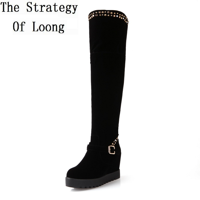 Women Autumn Winter Chunky Heel Nubuck Leather Height Increase Elevator Buckle Crystal Fashion Over The Knee Boots 34-38 SXQ0826